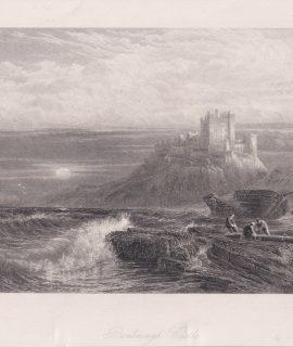 Antique Engraving Print, Bamborough Castle, 1876