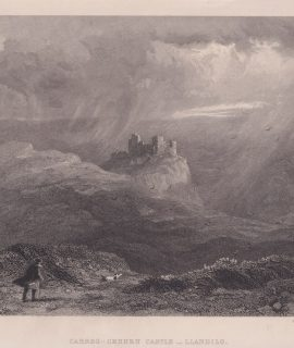 Antique Engraving Print, Carreg-Cennen Castle, Llandio, 1835