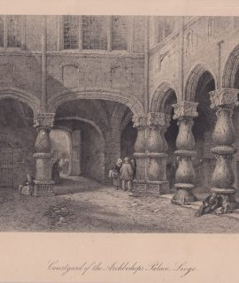 Antique Engraving Print, Courtyard of the Archbishop's Palace, Liege, 1876