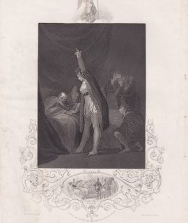 Antique Engraving Print, The Death of Cardinal Beaufort, 1853
