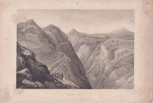 Antique Engraving Print, Defile of Cenia, 1830 ca.