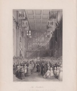 Antique Engraving Print, The Guildhall, 1870