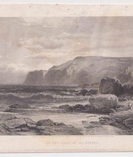 Antique Engraving Print, On the Coast of Mt. Desert, 1861