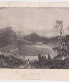 Antique Engraving Print, River Tay & Kinnoul Hill from East of Craigie, 1843