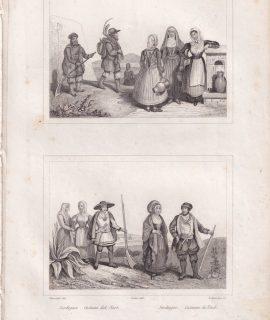 Antique Engraving Print, Sardegna, costumi del Nord, 1834