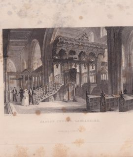 Antique Engraving Print, Sefton Church, Lancashire, 1844