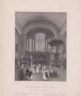 Antique Engraving Print, St. George's Church, Hanover Square, 1841