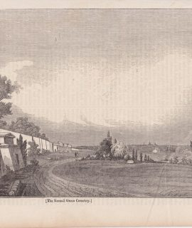 Antique Engraving Print, The Kensall Green Cemetery, 1834