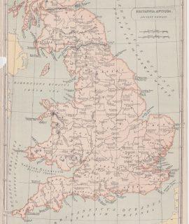 Antique Map, Britannia Antiqua Ancient Britain, 1870