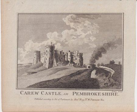 Antique Engraving Print, Carew Castle in Pembrokeshire, 1776