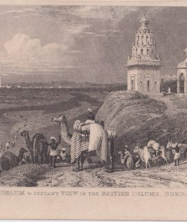 Antique Engraving Print, Corighaum & Distant View of the British Column, Bombay, 1820 ca.
