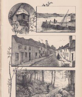Antique Print, Drawing, Landscape, 1870