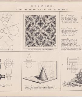 Antique Print, Drawing, pratical geometry as applied to drawing, 1870