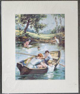 Vintage Print, Lake Scene, 1920