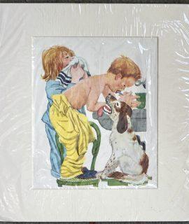 Vintage Print, The brushing of the teeth, 1950