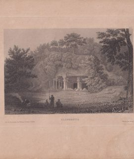 Antique Engraving Print, Elephanta, India, 1840