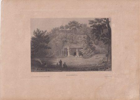 Antique Engraving Print, Elephanta, India, 1840