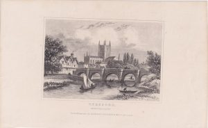 Antique Engraving Print, Hereford, Herefordshire, 1820