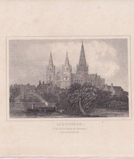 Antique Engraving Print, Lichfield, 1820
