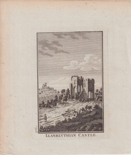 Antique Engraving Print, Llanblythian Castel, 1776