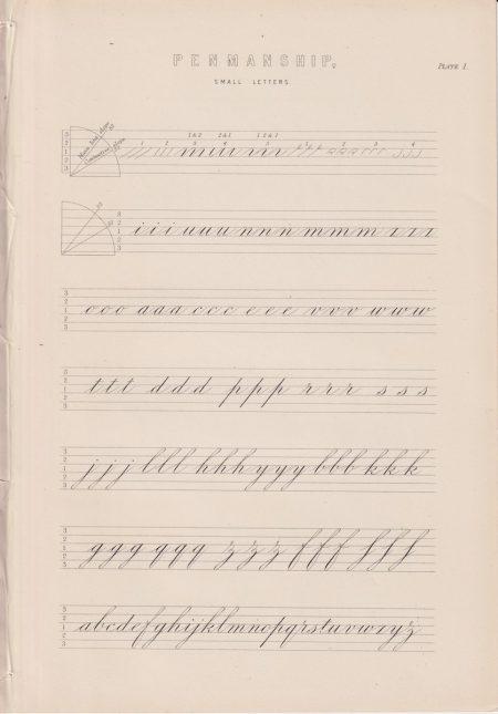 Antique Print, Penmanship, 1870