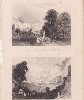 Antique Engraving Print, Rosherville Gardens Gravesend, 1820 ca.