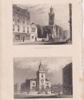 Antique Engraving Print, St. Botolph; St. Mary, 1820 ca.