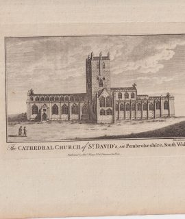 Antique Engraving Print, The Cathedral Church of St. David's in Pembrokeshire, 1776 ca.