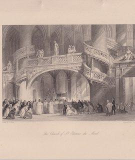Antique Engraving Print, The Church of St. Etienne du Mont, 1870 ca.