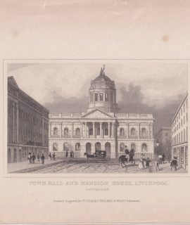 Antique Engraving print, Town Hall and Mansion House, Liverpool, 1820