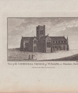 Antique Engraving Print, View of the Cathedral Church of St. Asaph, 1779