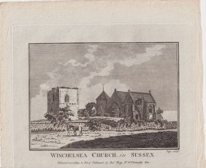 Antique Engraving Print, Winchelsea Church in Sussex, 1776