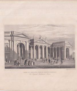 Antique Engraving Print, Bank of Ireland, Dublin (South Portico), 1846