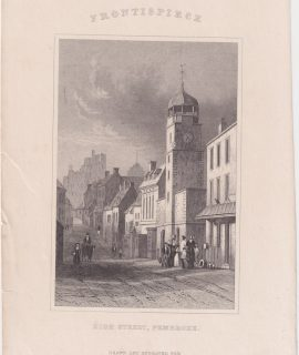 Antique Engraving Print, High Street, Pembroke, 1820