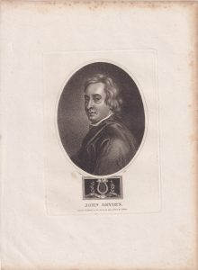 Antique Engraving Print, John Dryden, 1803