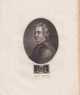Antique Engraving Print, John Dryden, 1803