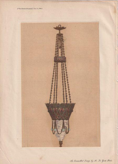 Antique Print, An enamelled Lamp, by M. Le Gost, Paris, 1868