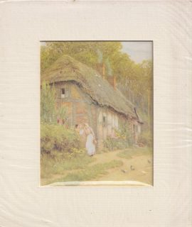 Antique Print, The cottage in the countryside, 1900