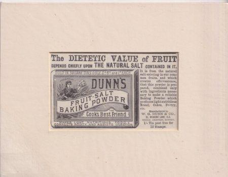 Antique Print, Dunn's Fruit Salt Baking Powder, 1890