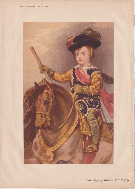 Antique Print, The Prince of Asturias by Velasquez, 1868
