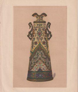 Antique Print, An Enamelled Vase by C. Lepecq, 1868
