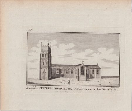 Antique Engraving Print, View of the Cathedral Church of Bangor, 1779 ca.