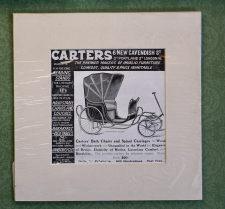 Rare Original Vintage Print, Carter's Bath Chairs and Spinal Carriages, 1900