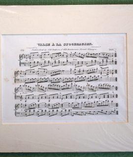 Antique Engraving Print, Valse à la Stockhausen, 1820