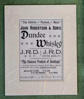 Rare Vintage Print, John Robertson & Son's, Dundee Whisky, 1890