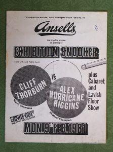 Rare Vintage Advertisement, Exhibition Snooker, 9 febbraio 1981