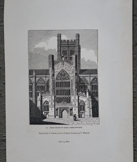 Antique Engraving Print, West Front of Bath Abbey-Church, 1840 ca.