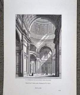 Antique Engraving Print, Interior of St. Paul's From Under the Dome, 1840 ca.