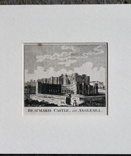 Antique Engraving Print, Beaumaris Castle in Anglesea, 1792
