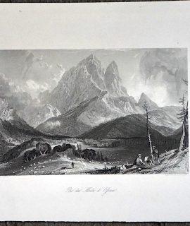 Antique Engraving Print, Pic du Midi d'Ossau, 1840 ca.